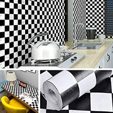 livelynine 45cmx7m schwarz weiß fliesenaufkleber für küche badezimmer bad fliesenfolie schwarz weiss kariert mosaikfliesen selbstklebend klebefolie