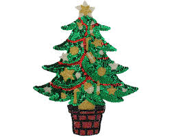 Large Christmas Tree Beaded Sequin Applique 9289L