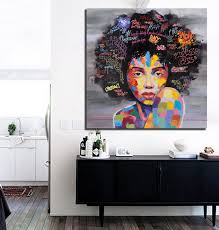 Graffiti Street Wall Art Abstract Modern African Women Portrait Canvas Oil Painting On Prints For Living