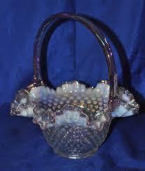 Fenton Blue Fairy Lamp by Fenton Glass Iridescent Opalescent Hobnail Basket Lilac Purple