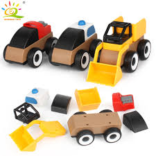 100 Trucks Cartoon HUIQIBAO TOYS Colorful Block Car Building Bricks DIY
