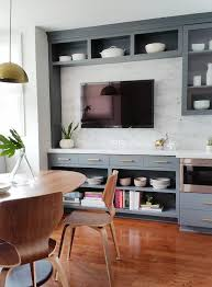 Gray Dining Room Cabinets With Flat Panel TV