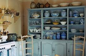 French Country Kitchen Decor With Blue China