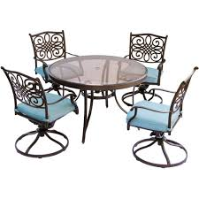 Hanover Traditions 5-Piece Aluminum Outdoor Dining Set With Round Glass-Top  Table And Swivel Chairs With Blue Cushions Hever Ding Table With 5 Chairs Bench Chelsea 5piece Round Package Aqua Drewing And Chair Set By Benchcraft Ashley At Royal Fniture Trudell Upholstered Side Signature Design Dunk Bright Lawson Piece Includes 4 Liberty Darvin Barzini Black Leatherette Coaster Value City Pc Kitchen Set A In Buttermilk Cherry East West The District Leaf Intercon Wayside Grindleburg Vesper Round Marble Ding Table Piece Set Brnan Amazoncom Tangkula Pcs Modern Tempered