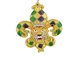 Harlequin Hand Painted Mardi Gras King Tiger Fleur De Lis LSU Tigers Holiday Christmas Tree Ornament