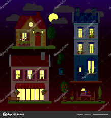 100 Three Storey Houses A Set Of Flat Illustrations Of Houses At Night Onestorey Two