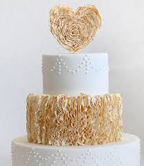 Ruffled Heart Cake Topper On Tiered Wedding