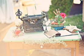 Vintage Wedding Welcome Table Antique Typewriter Books And More Planning Advice Ideas Reception