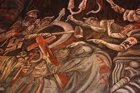 the clowns of war arguing in hell josé clemente orozco mural