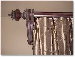 Wooden Decorative Traverse Curtain Rods by Double Tuck Top Pleated Drapery With Wood Poles Brackets And