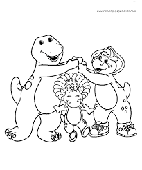 Barney Color Page Cartoon Characters Coloring Pages Plate Sheetprintable