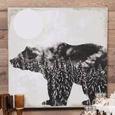 Rustic Wall Decor Hangings Lodge Curtains And Bear Metal Art