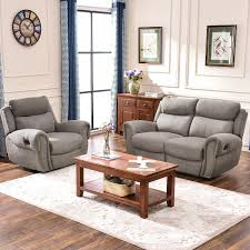 HarperBright Designs Recliner Chairs Fabric Recliner Loveseat Recliner Sofa Sets For Living Room Chair Loveseat Taupe Gray