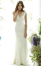 Floor Length V Neck Cap Sleeve Lace Wedding Dress With Brush Train And