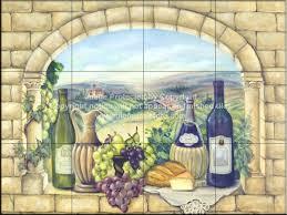 Accent Tiles For Kitchen Backsplash Tuscan Wine Tile Mural