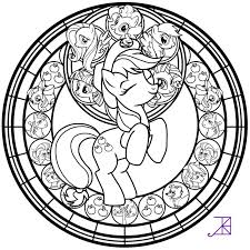 Ill Be Posting The Remaining Pony Line Arts Within Next Few Hours Heres Applejacks Stained Glass Applejack Art Coloring Sheets