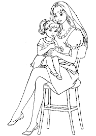 Barbie Coloring Pages Mother And Child Free Printable