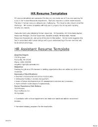 Curriculum Vitae Human Resources Assistant Resume For Hr Sample