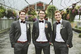 Groom And Groomsmen In Gray Suits With Bowties Photo By Rowan Jane Photography