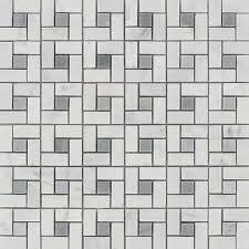 carrara mini pinwheel w blue gray dots honed mosaic