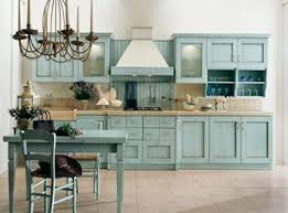 Country Kitchen French With Blue Cabinets