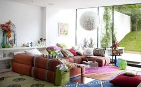 Red Couch Living Room Design Ideas by Comfy Colorful Ethnic Living Room Decor With Awesome Red Sofa And