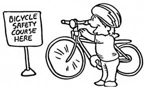 Ride Bicycle On Course For Safety Colouring Page