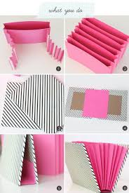Amusing DIY Stationary Organizer Design With Pink And Stripes Motive Paper For Book Storage By Kristie Gifford Home Decoration