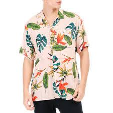 100 Coco Republic Sale Mens Bold Leaves Opencollar Shirt In Peach