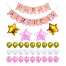 popular pink and white and gold birthday decorations buy cheap