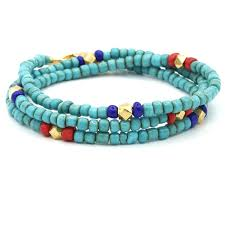 Santana Turquoise African Beads Feather Necklace Rocktonica London