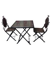 Desi Karigar Wooden Iron Dining Table Set Black Size