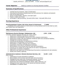 Certified Nursing Assistant Resume Objective Popular Cna Examples Sample