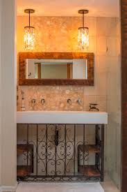 Chandelier Over Bathroom Vanity by Bathroom Vanity Barnwood Mirror Oyster Pendant Lights R Mended