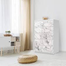 möbel klebefolie ikea malm kommode 6 schubladen hoch design marmor weiß