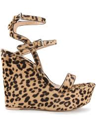 gianvito rossi leopard print wedge sandals lyst