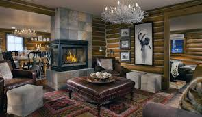 How To Decorate Living Room Rustic Style With Country Brown Tufted Leather Square Ottoman Coffee Table Above Patterned Rug And Cubicle Wall Mount