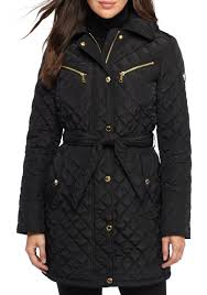 MICHAEL Michael Kors Snap Front Self Belt Quilted Jacket