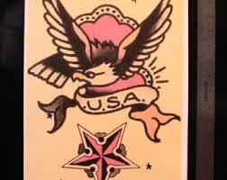 11 X 17 USA Bald Eagle W Nauticle Star Sailor Jerry Style Tattoo Flash Poster Print