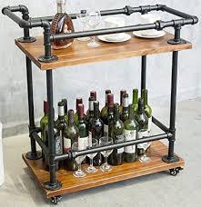 dofurnilim weinregal servierwagen auf rollen mit stauraum für küche bar wohnzimmer 3 ebenen für wein bier massivholz und metallpfeife