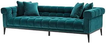 casa padrino luxus samt sofa meergrün schwarz 240 x 98 x h