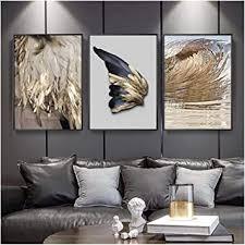 jwqing 3 stücke moderne wohnzimmer dekoration gold feder abstrakte poster flügel leinwand malerei wandbild sofa hintergrund 40x60 cm kein rahmen