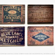 Rustic Kitchen Crates Wood Plank Set Of 4