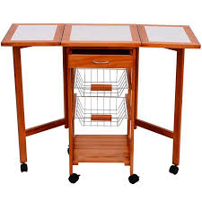 Hom Portable Rolling Tile Top Drop Leaf Kitchen Trolley Cart