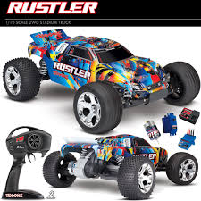 Traxxas 37054-4 Rustler XL-5 1/10 2WD Off-Road Truck Rock N Roll RTR ... Traxxas Rustler 110 Rtr 2wd Electric Stadium Truck Rock N Roll W White Tra370541wht 370764rnrs Vxl Brushless Xl5 Battery And Nitro 25 With Tsm Blue Tra370541blue 4wd Scale Rc Car Wikipedia Traxxas Rustler Blue Brushed Tq 24