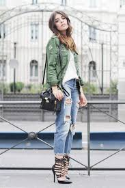 White Blouse With Ripped Jeans Outfit Black Heels And High Waisted Green Jacket Outfits