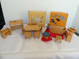 details zu sievers holzspielzeug spielform puppenhaus eßzimmer badezimmer möbel 70er ovp
