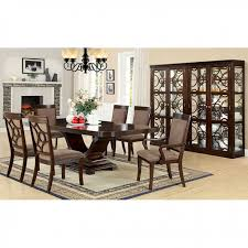 Woodmont Contemporary Walnut Finish Dining Table Set
