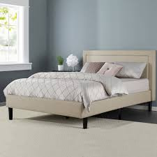 King Platform Bed With Fabric Headboard by Zinus Upholstered Detailed Platform Bed With Headboard And Wooden