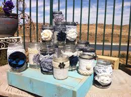 Rustic Country Wedding Reception Decorations Table Centerpieces With Wooden Box Under Glass Jars Full